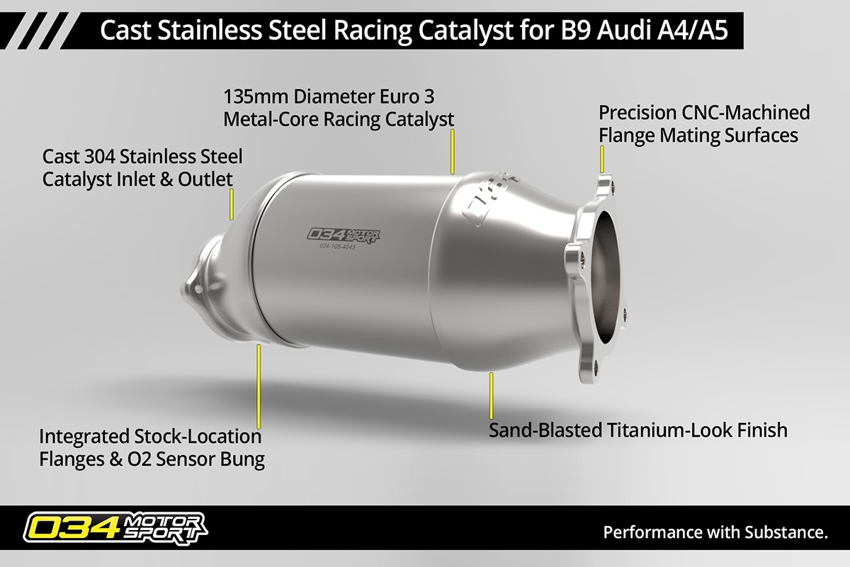Cast Stainless Steel Racing Catalyst, B9 Audi A4/A5 & Allroad 2.0 TFSI