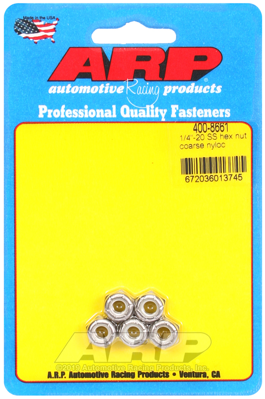 1/4-20 SS coarse nyloc hex nut kit