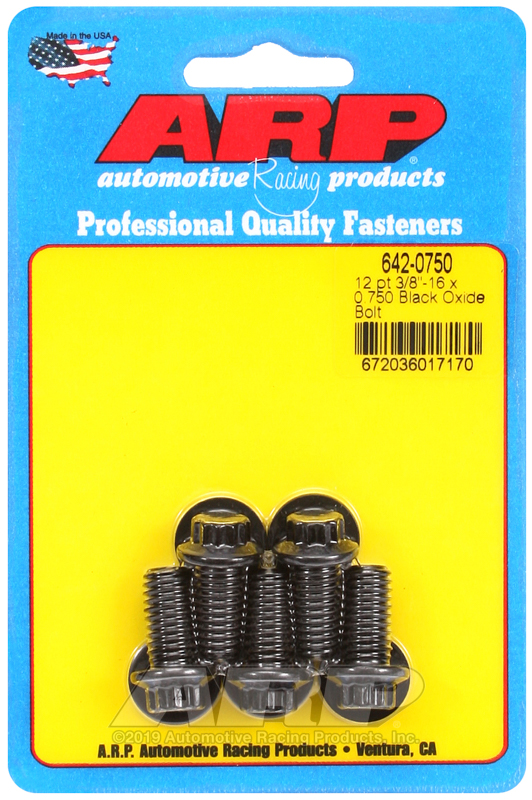 3/8-16 x 0.750 12pt black oxide bolts