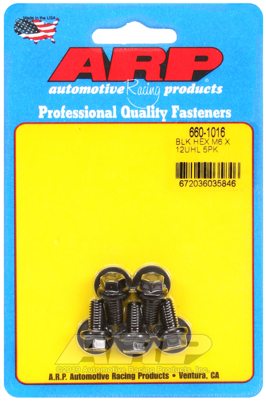 M6 x 1.00 x 12  hex black oxide bolts