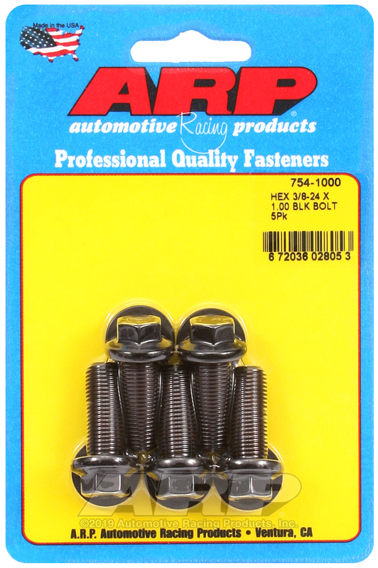 3/8-24 x 1.000 hex 7/16 wrenching black oxide bolts