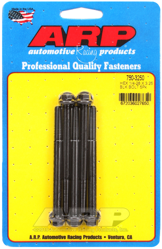 1/4-28 x 3.250 hex black oxide bolts