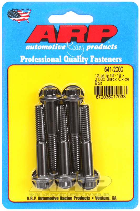 5/16-18 x 2.000 12pt black oxide bolts