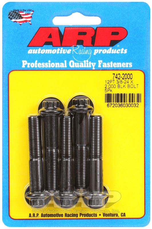 3/8-24 x 2.000 12pt black oxide bolts