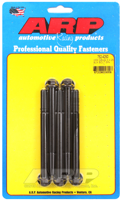 3/8-24 x 4.250 hex black oxide bolts