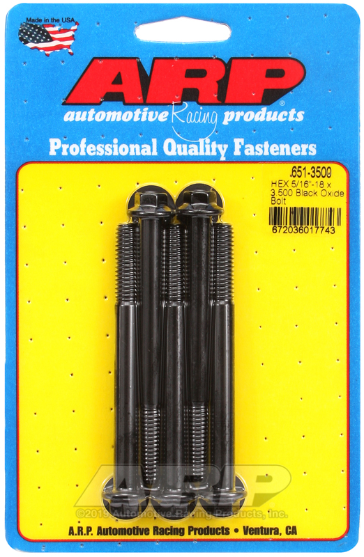 5/16-18 X 3.500 hex black oxide bolts