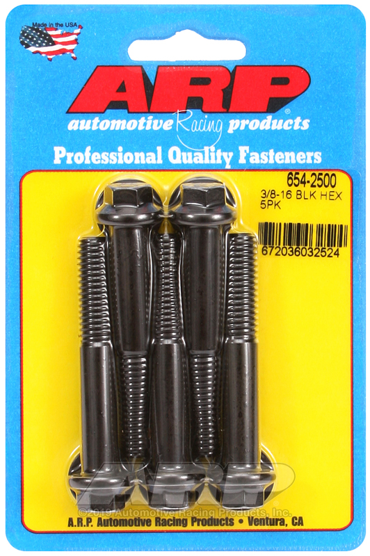 3/8-16 x 2.500 hex 7/16 wrenching black oxide bolts