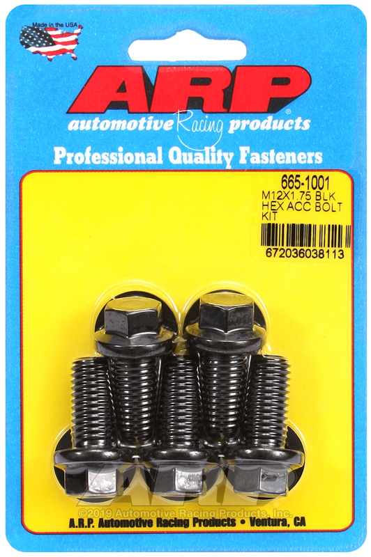 M12 x 1.75 x 25 hex black oxide bolts
