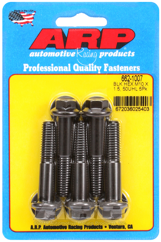 M10 x 1.50 x 50 hex black oxide bolts