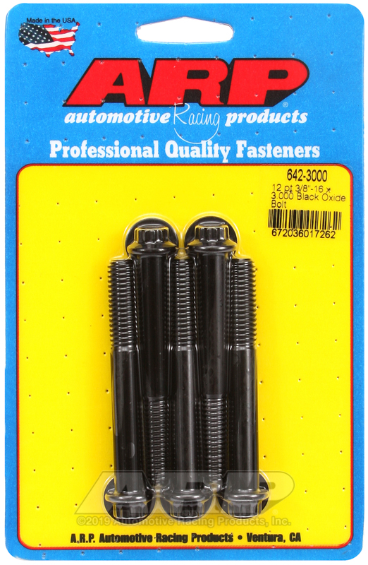 3/8-16 x 3.000 12pt black oxide bolts