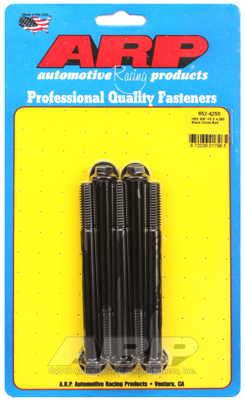 3/8-16 X 4.250 hex black oxide bolts