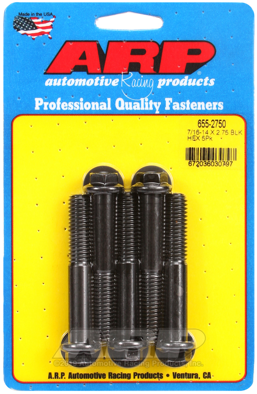 7/16-14 X 2.750 hex 1/2 wrenching black oxide bolts