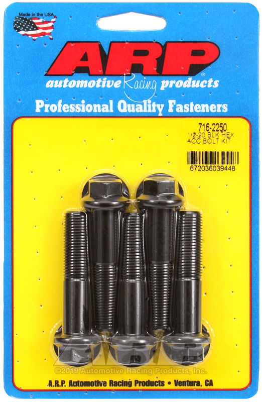 1/2-20 x 2.250 hex black oxide bolts