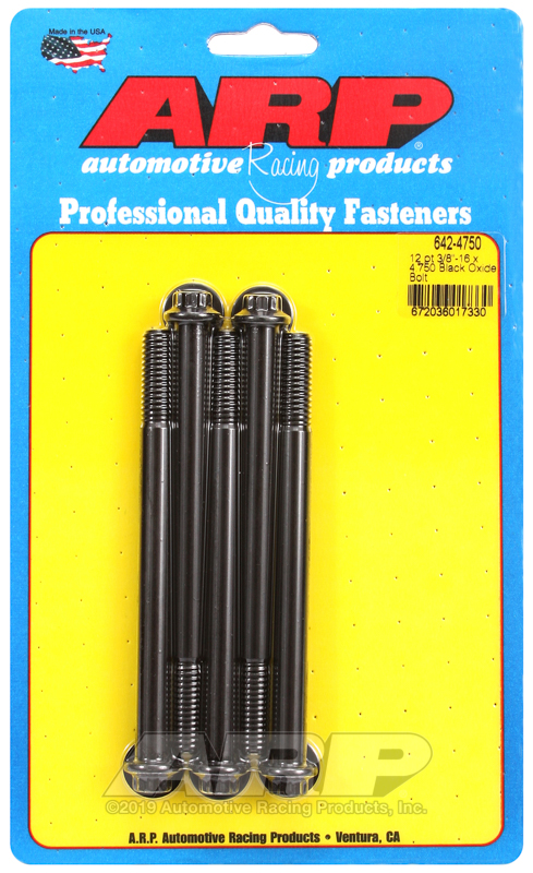 3/8-16 x 4.750 12pt black oxide bolts