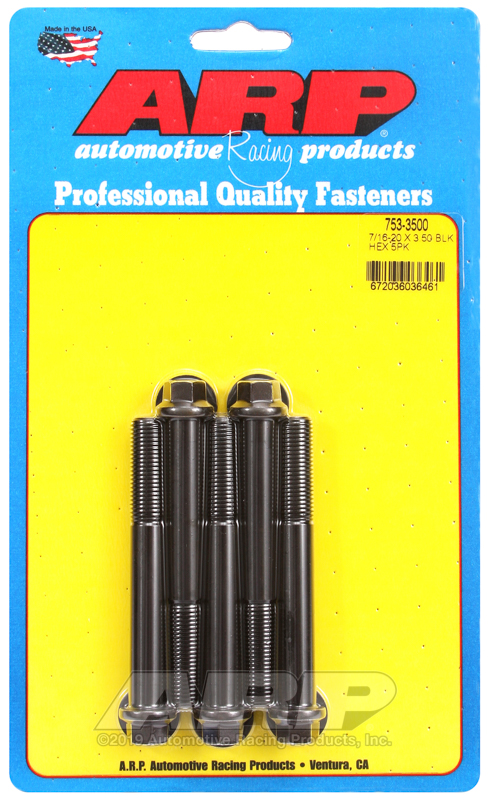 7/16-20 x 3.500 hex black oxide bolts