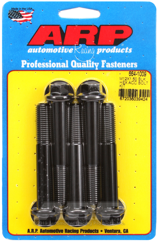 M12 x 1.50 x 80 hex black oxide bolts