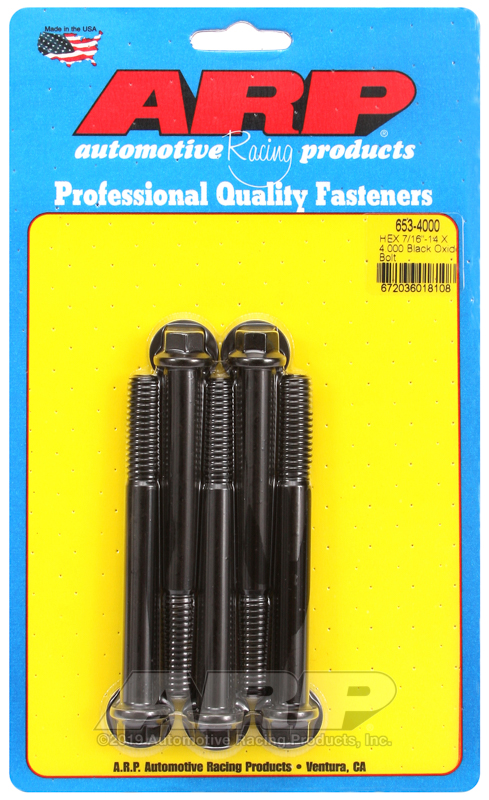 7/16-14 X 4.000 hex black oxide bolts