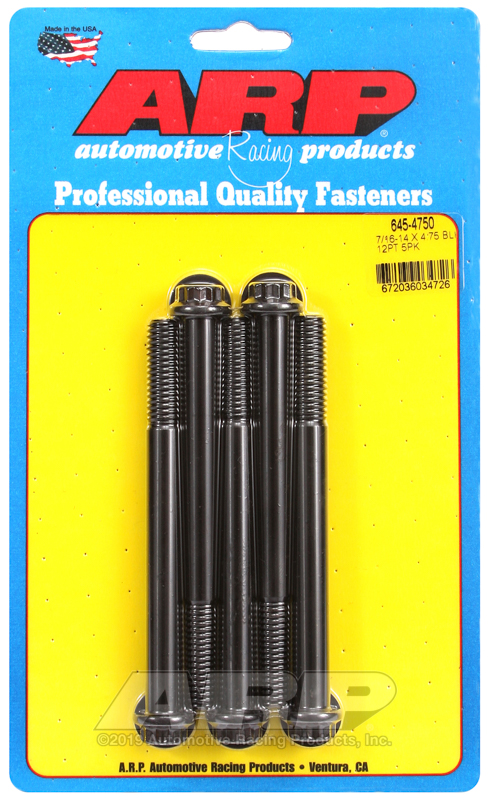 7/16-14 X 4.750 12pt 1/2 wrenching black oxide bolts