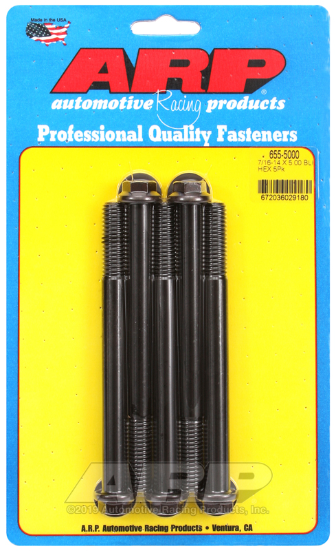 7/16-14 X 5.000 hex 1/2 wrenching black oxide bolts
