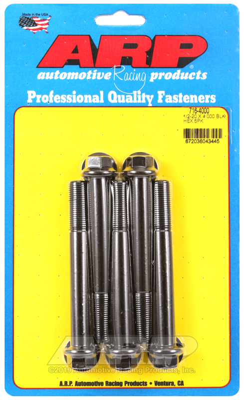 1/2-20 x 4.000 hex black oxide bolts