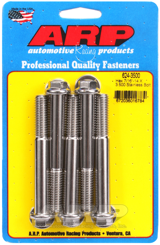 7/16-14 X 3.500 hex 1/2 wrenching SS bolts