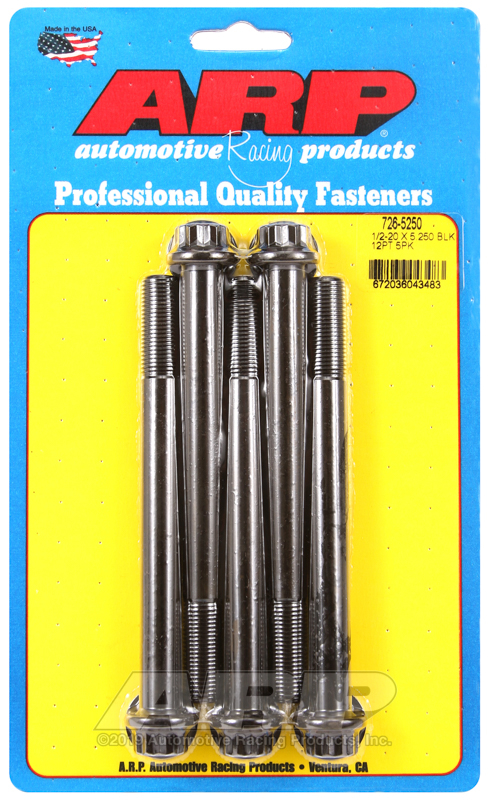 1/2-20 x 5.250 12pt black oxide bolts